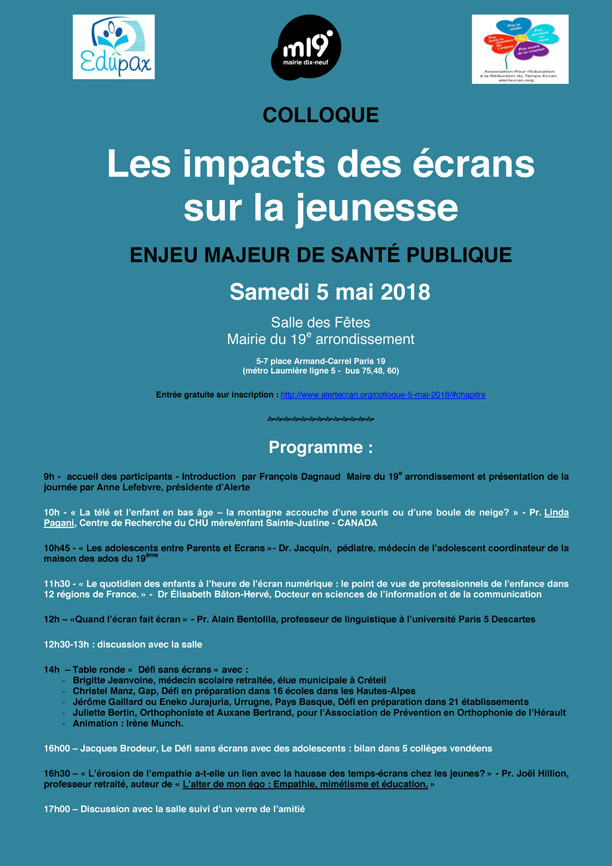 Colloque 5 Mai Paris Ecran