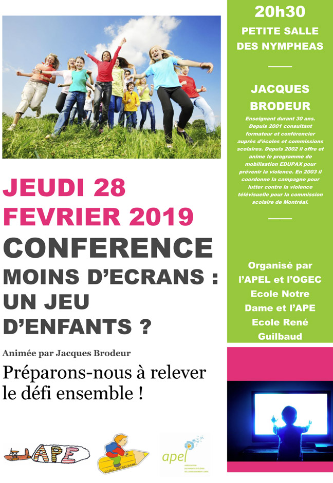 affiche conference 2019 ecole ND Guilbaud